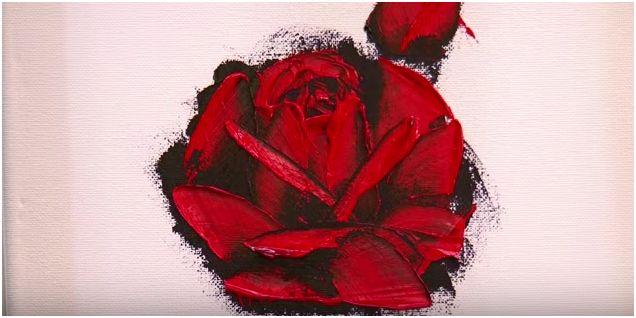 Come dipingere una rosa a spatola con colori ad olio